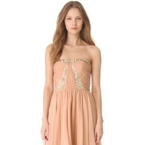 Rebecca Taylor Floral Beaded Strapless Dress Blush
